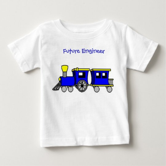 train and caboose-blue, Future Engineer Baby T-Shirt