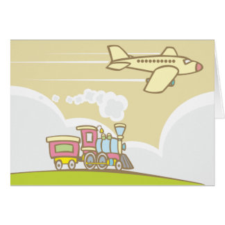 Train and Jet Plane Greeting Card