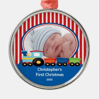 Train Baby Boy Photo Christmas Ornament