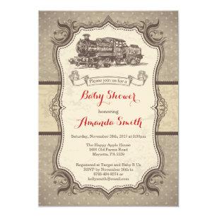 Train baby shower invitations zazzle uk train baby shower invitation vintage retro filmwisefo