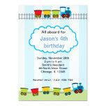 Train Birthday 13 Cm X 18 Cm Invitation Card