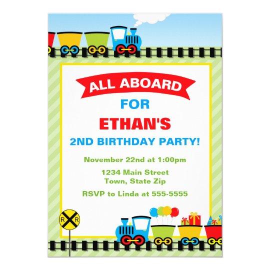 Train Birthday Invitation 5x7 Photo Card