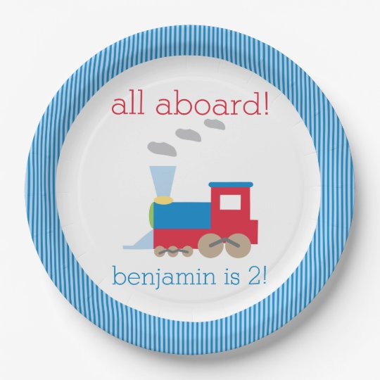 Train Birthday Party Plate 9 Inch Paper Plate