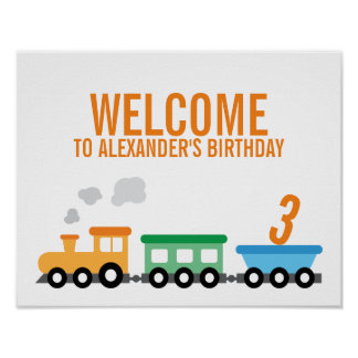 Train Birthday Party Poster