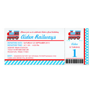 Train Boarding Pass Birthday Party Invitation