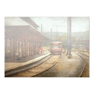 Train - Boarding the Scranton Trolley 13 Cm X 18 Cm Invitation Card