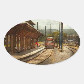 Train - Boarding the Scranton Trolley Oval Sticker