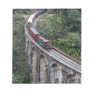Train crossing bridge Sri Lanka highlands Notepad