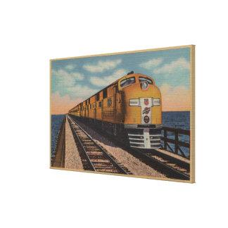 Train- Crossing Great Salt Lake, Ogden, Utah Canvas Print