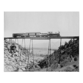 Train Crossing High Bridge, 1890. Vintage Photo Poster