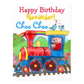 Train cute happy birthday photo  postcard