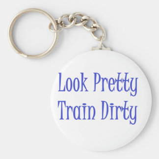 Train dirty blue basic round button key ring