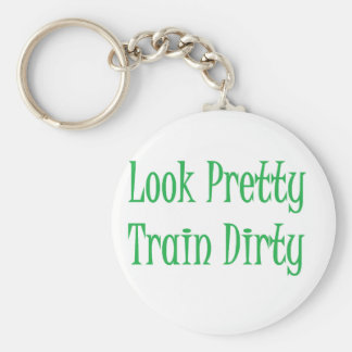 Train Dirty- green Basic Round Button Key Ring