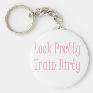 Train dirty- pink basic round button key ring