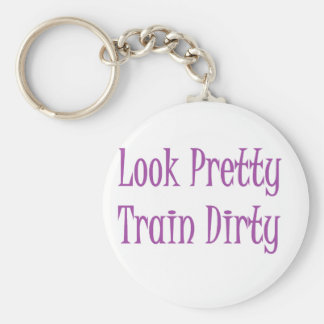 Train dirty- purple basic round button key ring