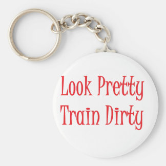 Train dirty- red basic round button key ring