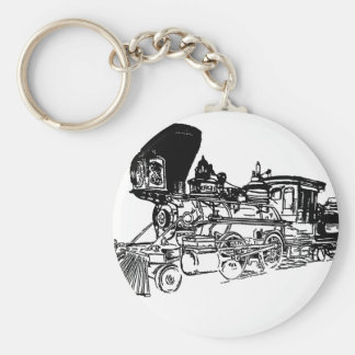 Train Drawing Design Basic Round Button Key Ring