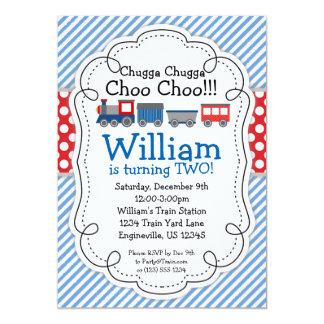 Train Engine, Baby Blue Stripes Red Polka Dots 13 Cm X 18 Cm Invitation Card