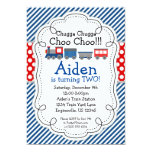 Train Engine, Blue Stripes Red Polka Dot Birthday 13 Cm X 18 Cm Invitation Card
