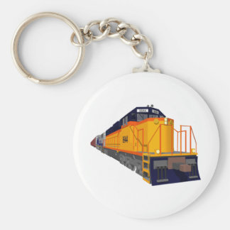 Train Engine: Classic Color Scheme: Basic Round Button Key Ring