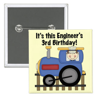 Train Engineer 3rd Birthday Tshirts and Gifts 15 Cm Square Badge