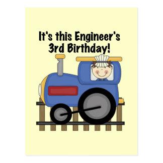 Train Engineer 3rd Birthday Tshirts and Gifts Postcard