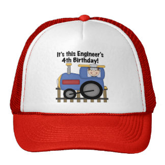 Train Engineer 4th Birthday Tshirts and Gifts Trucker Hats