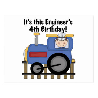 Train Engineer 4th Birthday Tshirts and Gifts Postcard