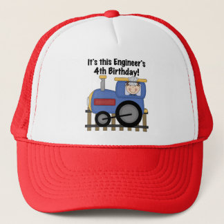 Train Engineer 4th Birthday Tshirts and Gifts Trucker Hat