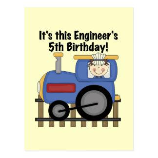 Train Engineer 5th Birthday tshirts and Gifts Postcard