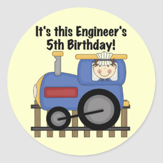 Train Engineer 5th Birthday tshirts and Gifts Round Sticker