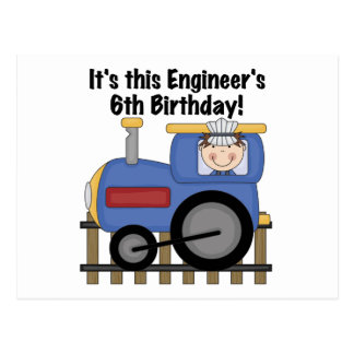 Train Engineer 6th Birthday Tshirts and Gifts Postcard