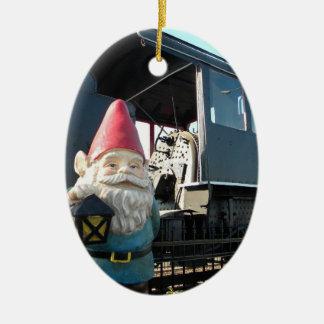 Train Gnome Ceramic Oval Decoration