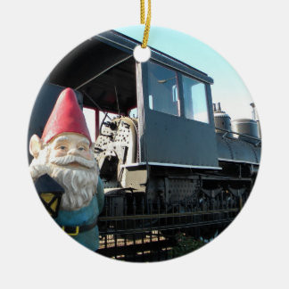 Train Gnome Round Ceramic Decoration