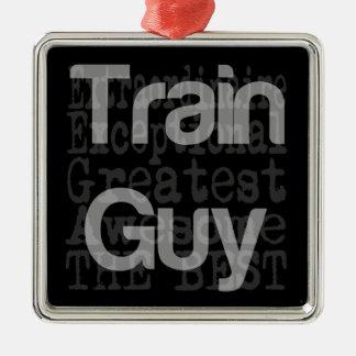 Train Guy Extraordinaire Silver-Colored Square Decoration