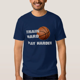 Train Hard Play Harder Basketball TShirt Navy Blue