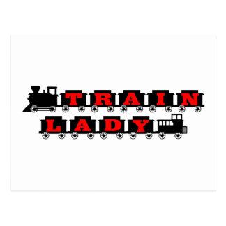 Train lady model railroading postcard