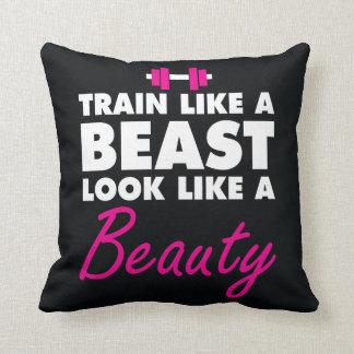 Train Like A Beast, Look Like A Beauty - Gym Throw Pillow