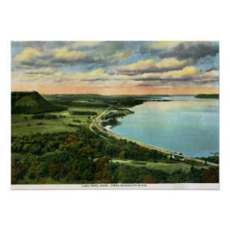 Train on Lake Pepin, Minnesota Vintage Poster