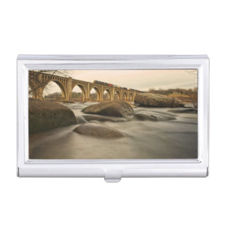 Train over James River Business Card Holder
