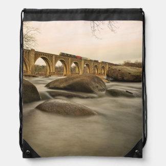 Train over James River Drawstring Bag
