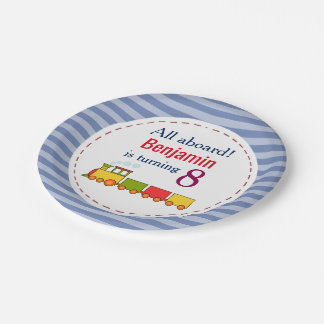 Train Personalized Any Age Birthday Paper Plate