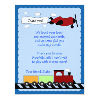 "Train & Plane Flat Thank you card 4x5 4.25"" X 5.5"" Invitation Card"