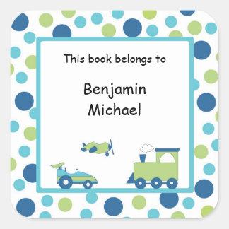 Train Plane Race car Book Label Blue Green Dot Square Stickers
