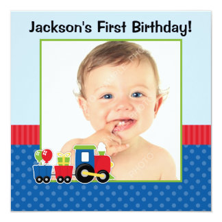 Train Polka Dot 1st Birthday Boy Photo 13 Cm X 13 Cm Square Invitation Card