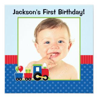 Train Polka Dot 1st Birthday Boy Photo 13 Cm X 13 Cm Square Invitation Card