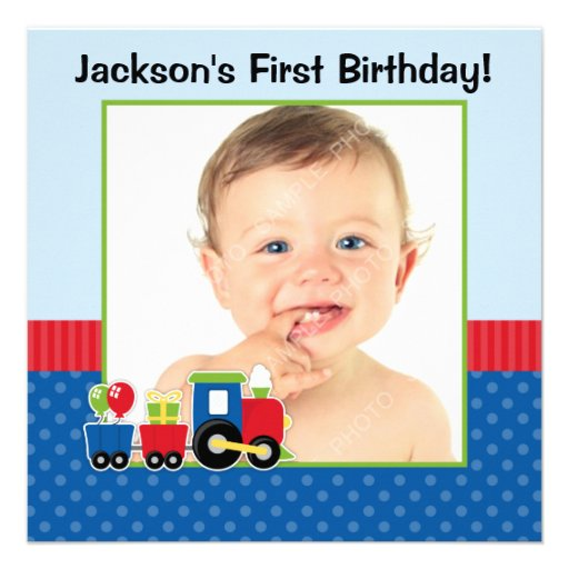 Train Polka Dot 1st Birthday Boy Photo Invite