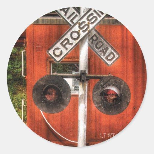 Train - RailRoad Crossing Round Sticker