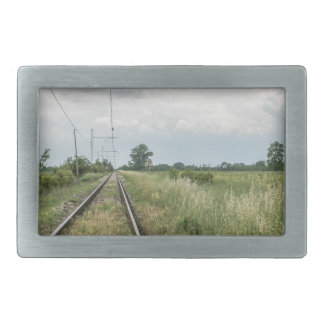 train rails rectangular belt buckles