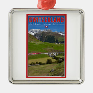 Train Ride through the Swiss Alps Christmas Ornament